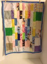 Handmade Patchwork Baby Quilt Blanket Gebder Unisex Blue Soft Flannel Backing