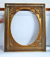 More details for incredible vintage large gilt wooden picture frame with oval aperture. intricate