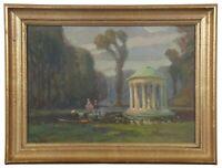 "John Rettig Antique Oil on Board Rotunda Garden Landscape Figures Gazebo 13"""