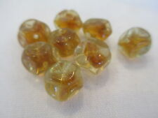 50pcs Vintage Western German Topaz & Crystal Pinched Glass Beads 10mm