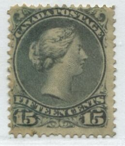 Canada 1868 15 cents grey Large Queen very lightly used