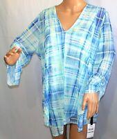 Skye/'s the Limit Women Plus Size 1x 2x 3x Pale Lime Green Tunic Top Blouse Shirt