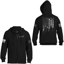 Grunt estilo bandera de 1776 Full Zip Hoodie-Negro