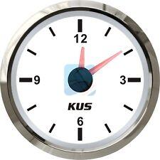 KUS Marine Quartz Clock Boat Car RV Hour Gauge White Face Dial 12 Hour 12V/24V