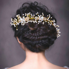 Women Bridal Gold Plated Crystal Pearl Crown Hair Band Gold Leaf Flower Headband