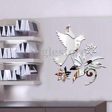3D Bird Mirror Wall Sticker Silver Art Acrylic Vinyl Mural Removable Decal Decor