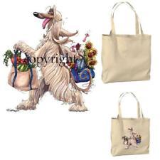 Afghan Hound Dog Lady Fun Shopping Bags Cartoon Artist Canvas Grocery Tote Bag