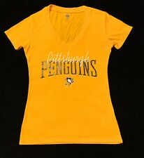 Brand New NHL Pittsburgh Penguins Women's Yellow V-Neck Logo Shirt Size S (4/6)