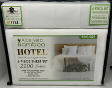Hotel Brand Bamboo Aloe Vera King/Cal King Sheet Set 6 Pc Deep Pockets White