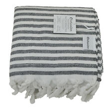 Black and White Terry on One Side Turkish Towel, Peshtemal for the Bath or Beach