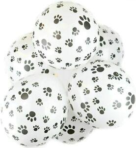 10x White/Black Animal Paw Print Balloons Latex Decorations Safari Decor Wild