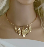 "Gold Tone Leaves Charm Fringe Collar Choker Necklace 15"" Vintage 1970s"