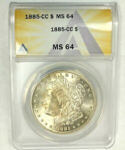 1885-CC MS64 Morgan Silver Dollar ANACS Certified Graded US 1$ Carson City Coin