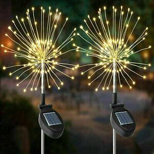 120 Led Solar Powered Flower Light Firework Lamp Garden String Plant Path Light