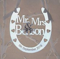 Personalised Wedding Mr & Mrs Good Luck Horseshoe Keepsake FREE GIFT BAG