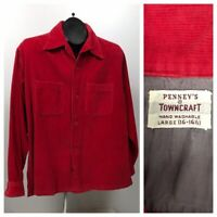 1950s Red Corduroy Shirt / Atomic Loop Collar Button Down Shirt Penney's /Large