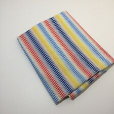 "1.5 Yards Yellow Blue Orange Striped Fabric 44"" wide Cotton"