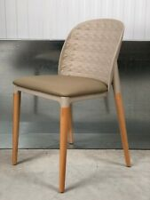 BRAND NEW:DESIGNER BEIGE TEXTURED PLASTIC CHAIR WITH BEIGE FAUX LEATHER SEAT PAD