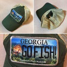 Georgia Go Fish Mesh Trucker Hat Baseball Cap GA Habitat Support, Forest Green