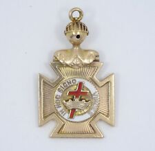 ANTIQUE MASONIC KNIGHTS TEMPLAR  IN HOC SIGNO VINCES SOLID 10K GOLD FOB PENDANT