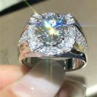 14k White Gold Finish 2.25ct Round Cut Diamond Halo Solitaire Men's Ring Size 9