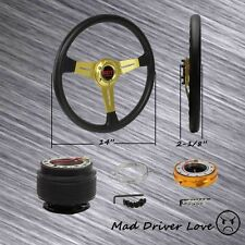 GOLD STEERING WHEEL +HUB ADAPTER+QUICK RELEASE FOR 90-95 MIATA RX-7 RX-8 PROTEGE