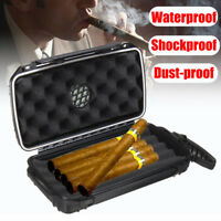 Waterproof Shockproof Travel 5 Cigar Caddy Case Box Humidor Humidifier Storage