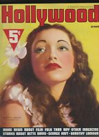 Hollywood Oct 1937 Dorothy Lamour VG nice Chesterfield ad on back cover