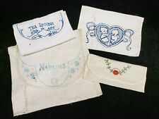 New Listing4 Vintage Holders Napkin Kewpie Teaspoons Embroidery Linen Hankies Comb Keeper