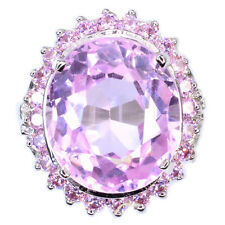 DAZZLING GEMS 11.90 CT SOFT PINK KUNZITE MAIN STONE 925 SILVER RING SIZE 6.25