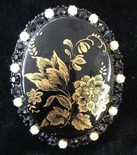 Vintage Original By Robert Black & Gold Tone Pin / Brooch Round Elegant