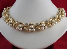 Vintage Signed Lisner Pearl Rhinestone Necklace