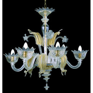 Muranese chandelier in Murano glass 6 lights crystal blue and gold