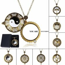 OWL MAGNIFYING GLASS PENDANT LONG CHAIN NECKLACE W/MAGNIFIER FOR PAGE READING