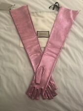 GUCCI Pink Metallic Leather Fingerless Opera Gloves SZ 6 1/2 Or X Small NWT $759