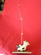 Cow figurine on tile base with Wire Memo Photo Magnet Holder 15 1/2""