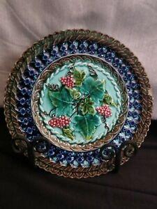 "Vintage Majolica French Sarreguemines U&C 7 5/8"" #1738207671 with Grapes"
