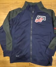 Nike Mens USA HOCKEY Dri-Fit Navy Gray Jacket Size XL