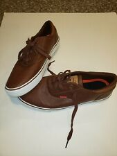 New Levis Comfort Men's Turner Nappa Brown Leather Sneakers Size 10.5