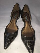 Ann Taylor Chocolate Brown Leather Buckle Heels Women's Shoes Size 8M Pointed