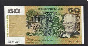 1983 AUSTRALIAN R505F $50 PHILLIPS/WHEELER 1st PREFIX gEF/aUN YAA 994345