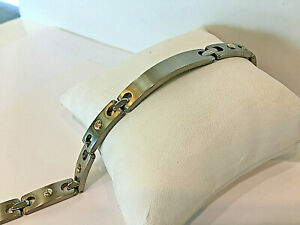 Titanium ID.Bar Men's Bracelet with 14KT.Yellow Gold Bar 8.5 inches.