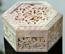 Indian Floral Hand Carved LargeJewellery Box Soap Stone Hexagon Box Unique Gift