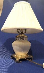 Vintage LENOX Ivory Porcelain Boudoir Table Lamp Brass Base