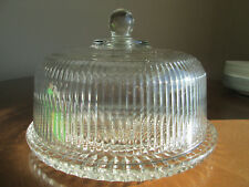 """Vintage Anchor Hawking Ribbed Cake Dome and 11 1/8"""" Diamond Point Plate"""