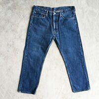 Mens LEVIS 505 Jeans Straight leg Regular Zip Fly Denim Mid Blue Size W36 Leg 29