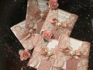 WEDDING INVITATION PINK BLUSH  ROSE GOLD GLITTER  SPARKLE CARD  LASER CUT