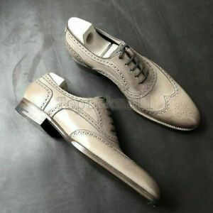 Handmade Men's Leather Oxfords Wingtip Gray Premium Quality Dress New Shoes-271