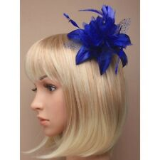 Royal Blue Feather Flower Design Fascinator on Clear Comb