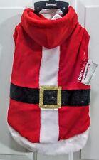 Pet Luv Holiday Apparel, Dog Size L, Hooded Velvet Santa Coat, Blk Sequin Belt